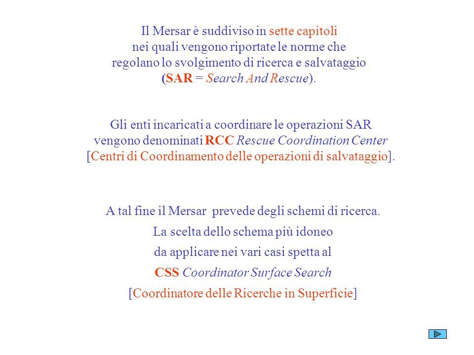 Il Mersar è suddiviso in sette capitoli nei quali vengono riportate le norme che regolano lo svolgimento di ricerca e salvataggio (SAR = Search And Rescue).