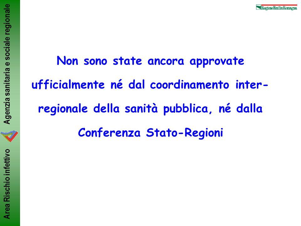 Non sono state ancora approvate ufficialmente né dal coordinamento inter-regionale della sanità pubblica, né dalla Conferenza Stato-Regioni