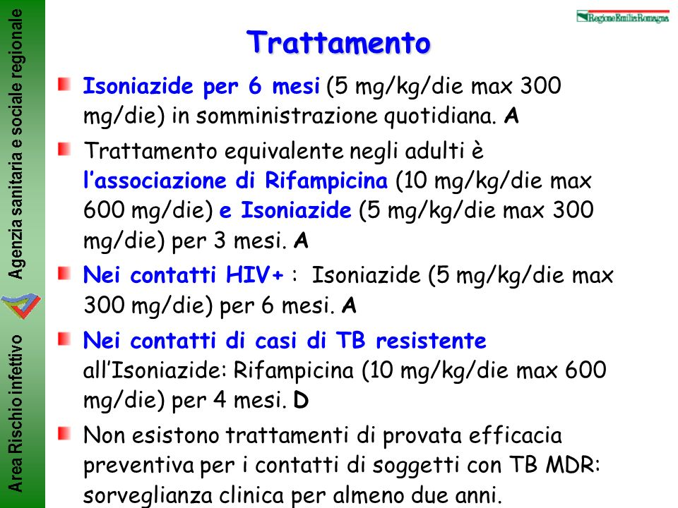Trattamento Isoniazide per 6 mesi (5 mg/kg/die max 300 mg/die) in somministrazione quotidiana. A.