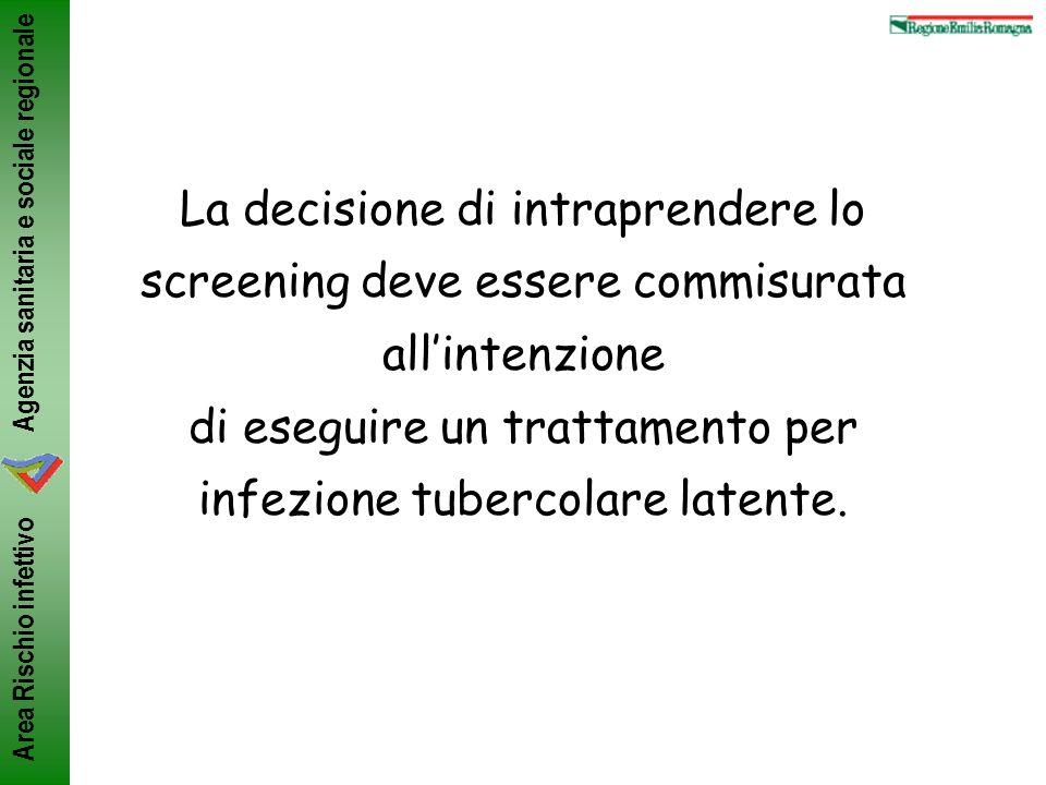 La decisione di intraprendere lo screening deve essere commisurata all'intenzione di eseguire un trattamento per infezione tubercolare latente.