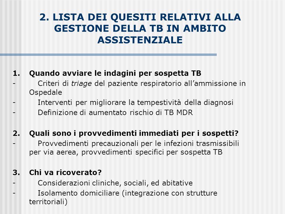 2. LISTA DEI QUESITI RELATIVI ALLA GESTIONE DELLA TB IN AMBITO ASSISTENZIALE
