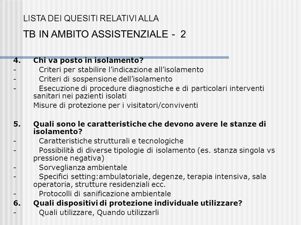 TB IN AMBITO ASSISTENZIALE - 2