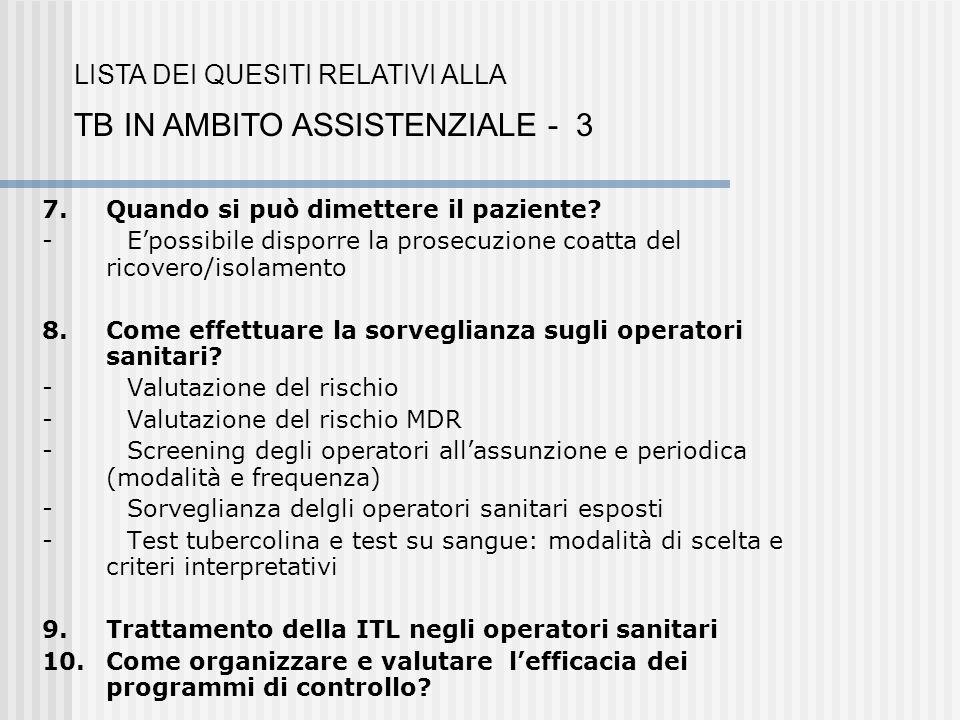 TB IN AMBITO ASSISTENZIALE - 3