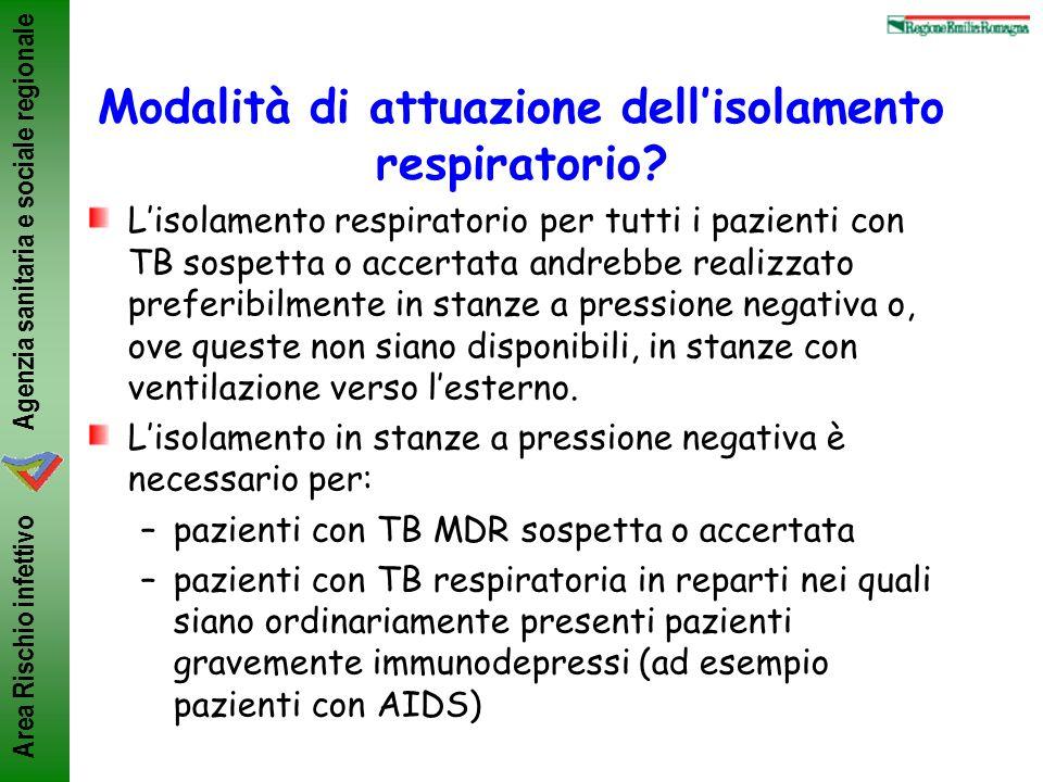 Modalità di attuazione dell'isolamento respiratorio