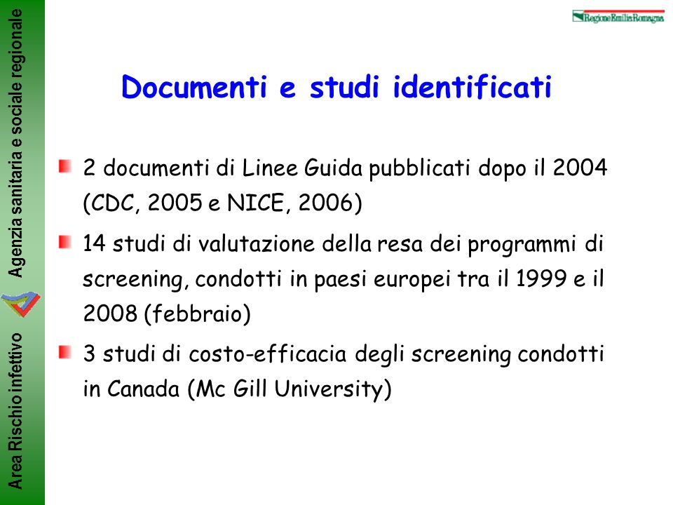 Documenti e studi identificati