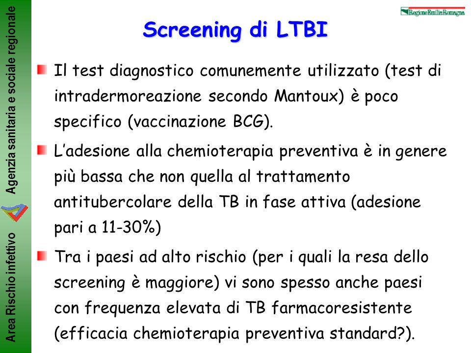 Screening di LTBI Il test diagnostico comunemente utilizzato (test di intradermoreazione secondo Mantoux) è poco specifico (vaccinazione BCG).