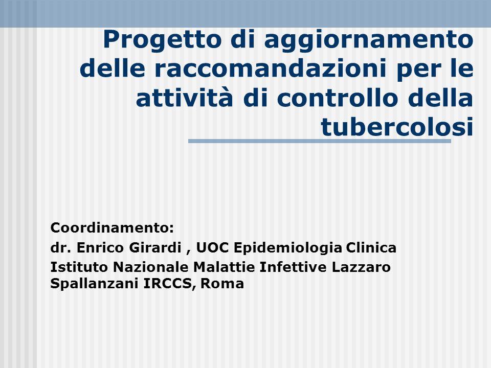 Progetto di aggiornamento delle raccomandazioni per le attività di controllo della tubercolosi