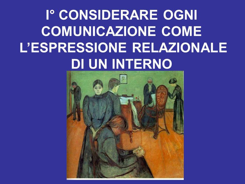 I° CONSIDERARE OGNI COMUNICAZIONE COME L'ESPRESSIONE RELAZIONALE