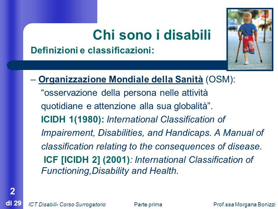 Chi sono i disabili Definizioni e classificazioni: