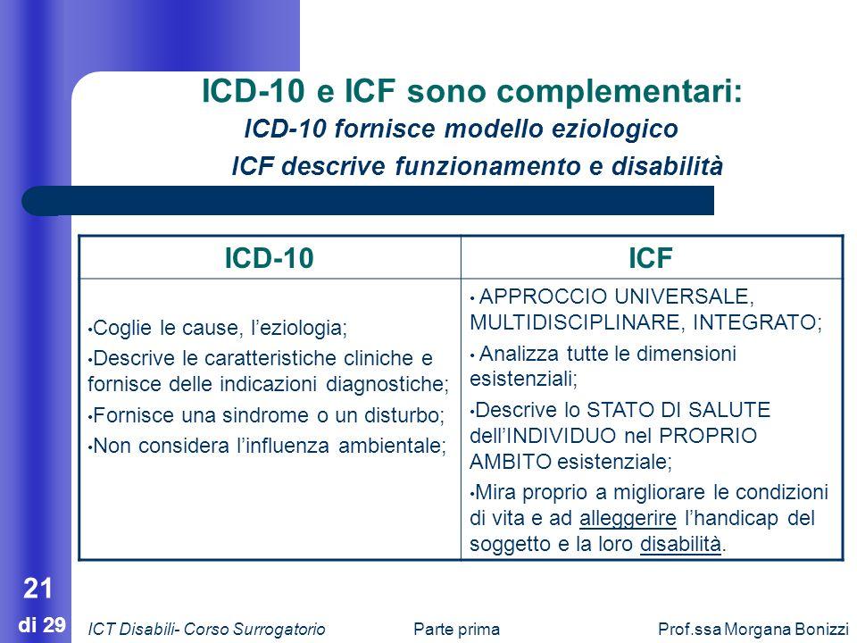 ICD-10 e ICF sono complementari: