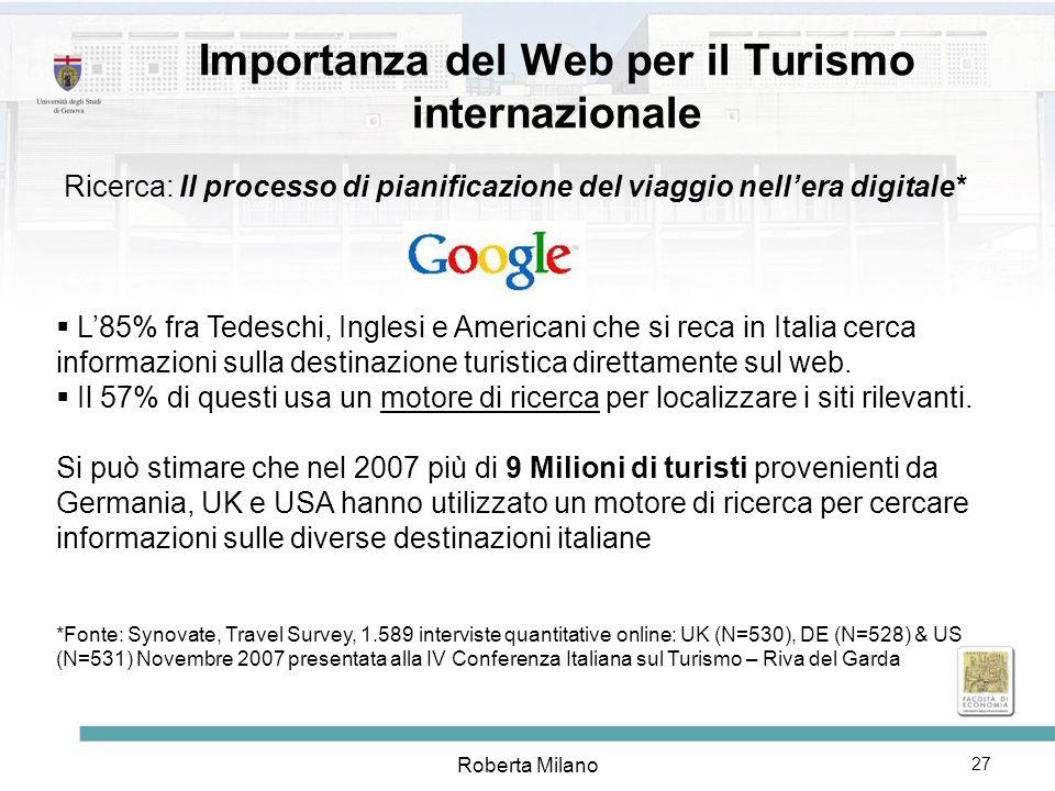 Importanza del Web per il Turismo internazionale