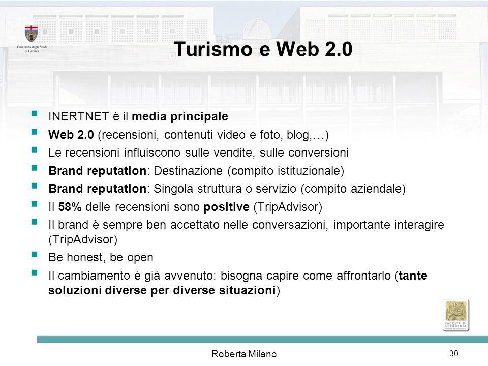 Turismo e Web 2.0 INERTNET è il media principale