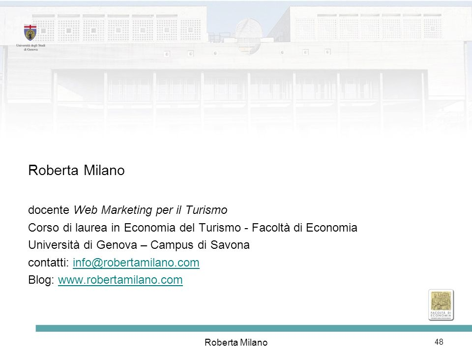 Roberta Milano docente Web Marketing per il Turismo