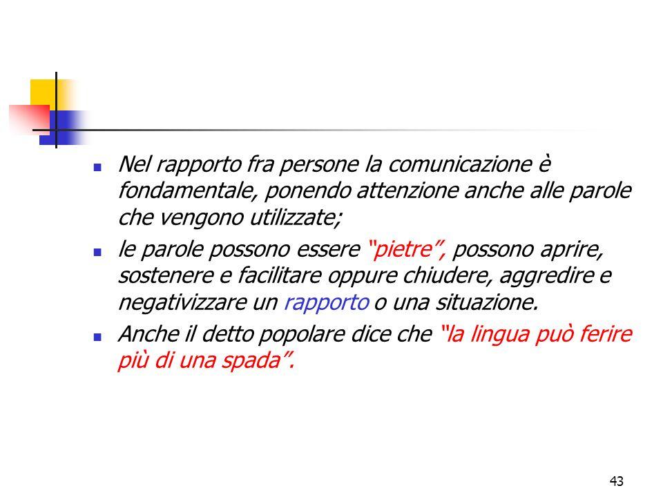 Nel rapporto fra persone la comunicazione è fondamentale, ponendo attenzione anche alle parole che vengono utilizzate;