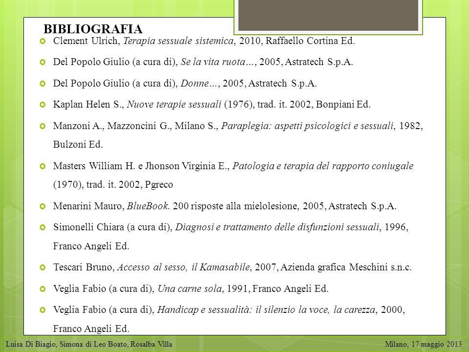 BIBLIOGRAFIA Clement Ulrich, Terapia sessuale sistemica, 2010, Raffaello Cortina Ed.