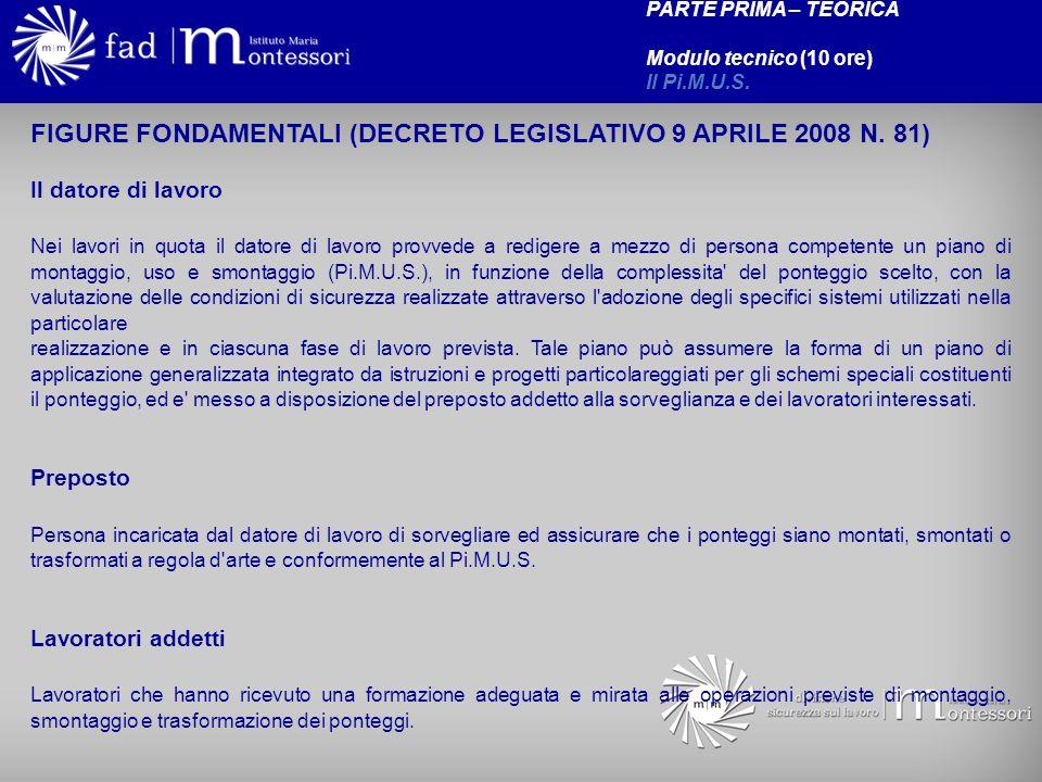 FIGURE FONDAMENTALI (DECRETO LEGISLATIVO 9 APRILE 2008 N. 81)
