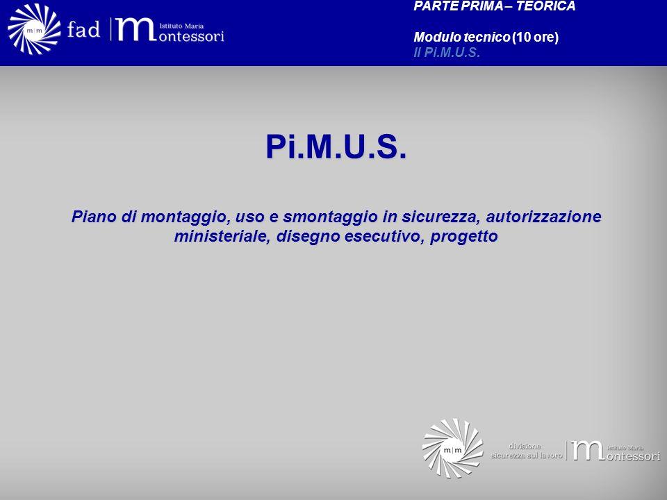 PARTE PRIMA – TEORICA Modulo tecnico (10 ore) Il Pi.M.U.S. Pi.M.U.S.