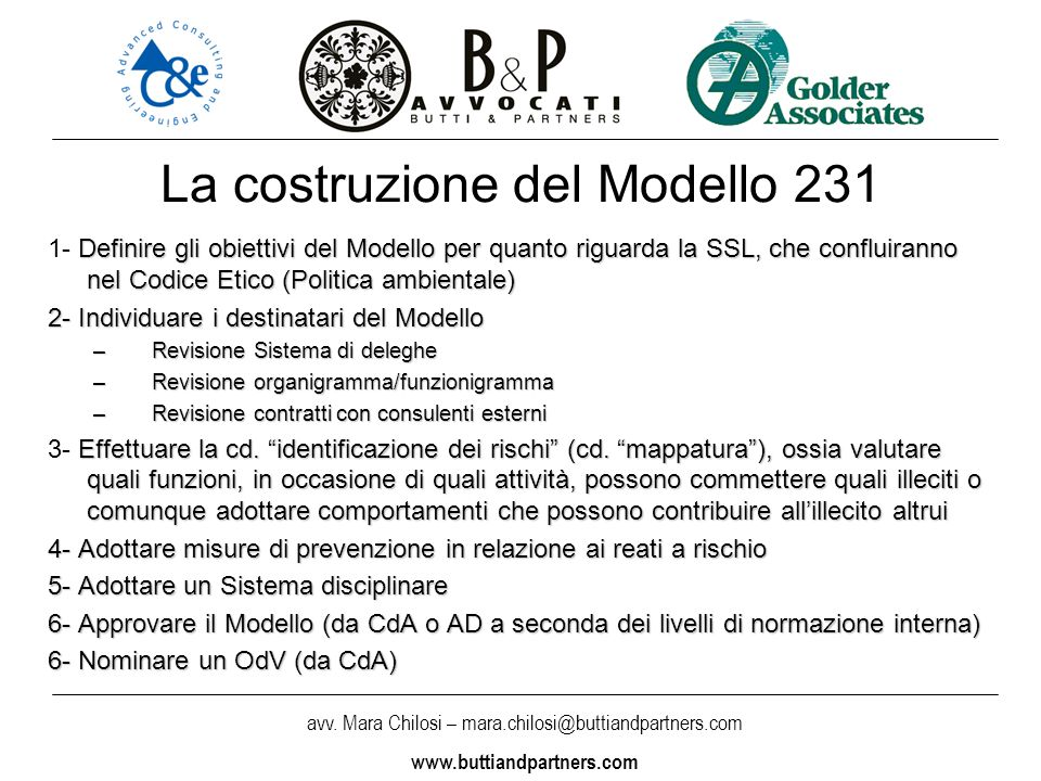 La costruzione del Modello 231