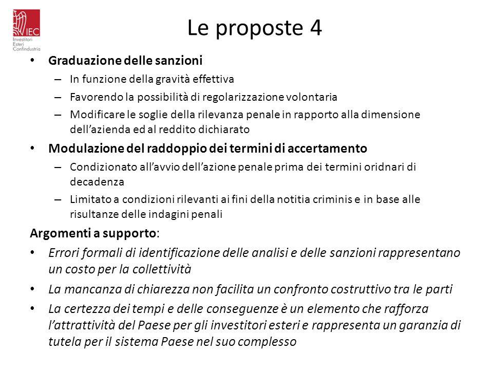 Le proposte 4 Graduazione delle sanzioni