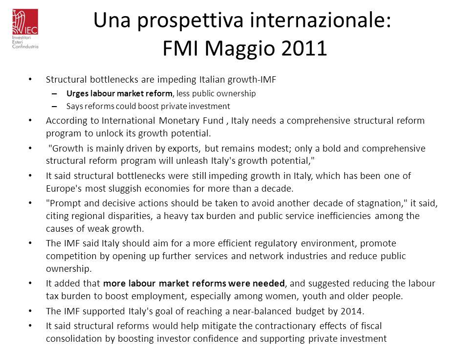 Una prospettiva internazionale: FMI Maggio 2011