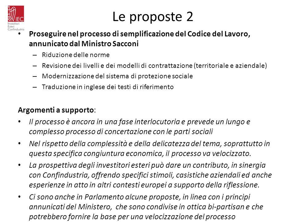 Le proposte 2Proseguire nel processo di semplificazione del Codice del Lavoro, annunicato dal Ministro Sacconi.