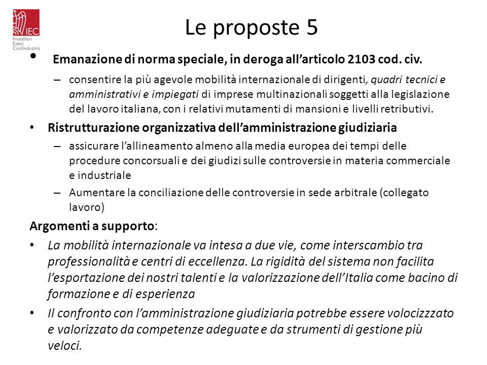 Le proposte 5 Emanazione di norma speciale, in deroga all'articolo 2103 cod. civ.