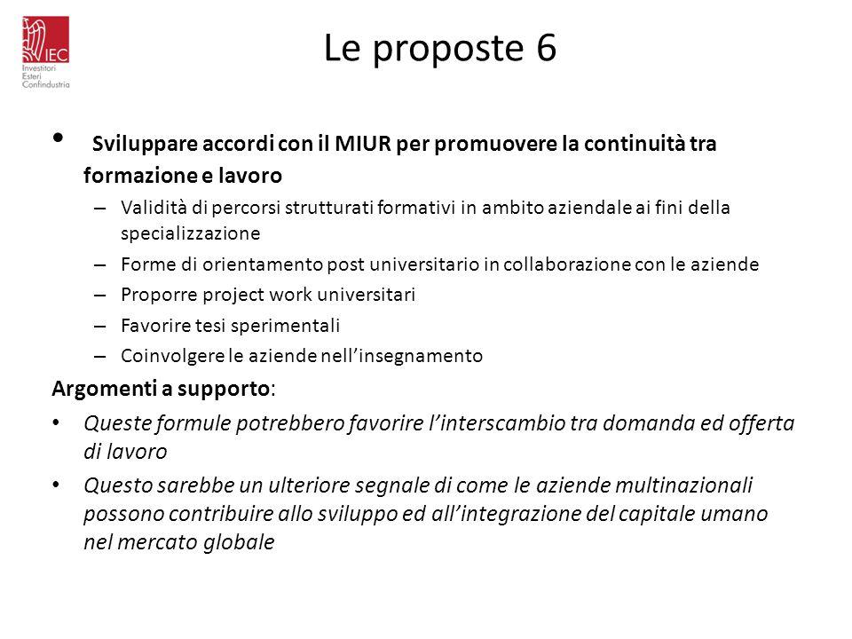 Le proposte 6 Sviluppare accordi con il MIUR per promuovere la continuità tra formazione e lavoro.