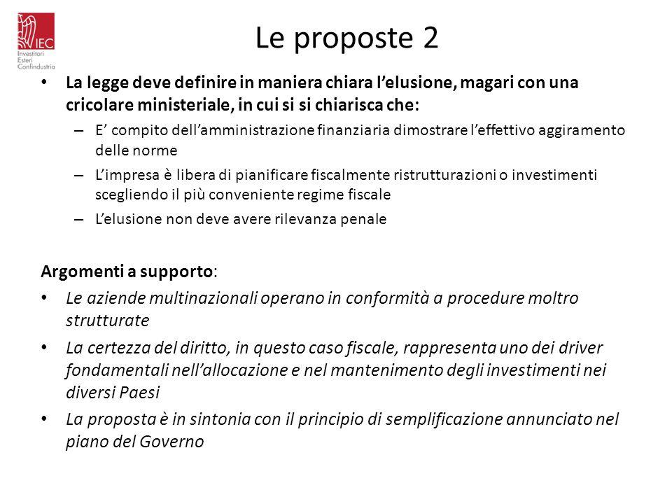Le proposte 2 La legge deve definire in maniera chiara l'elusione, magari con una cricolare ministeriale, in cui si si chiarisca che: