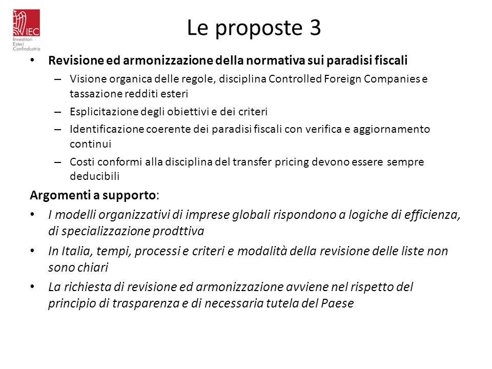 Le proposte 3 Revisione ed armonizzazione della normativa sui paradisi fiscali.