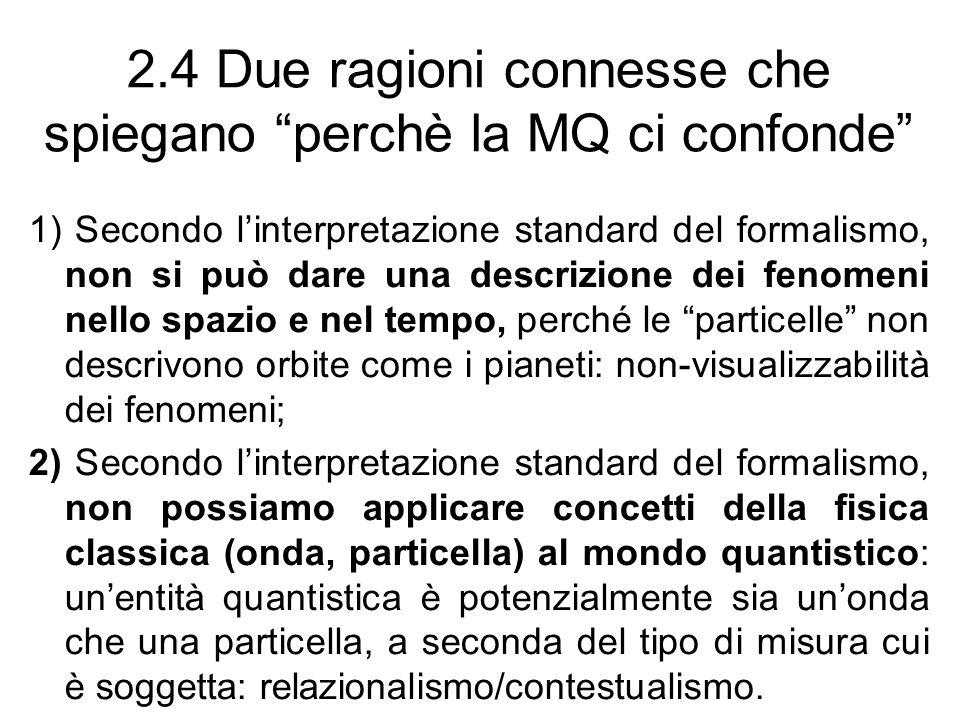 2.4 Due ragioni connesse che spiegano perchè la MQ ci confonde
