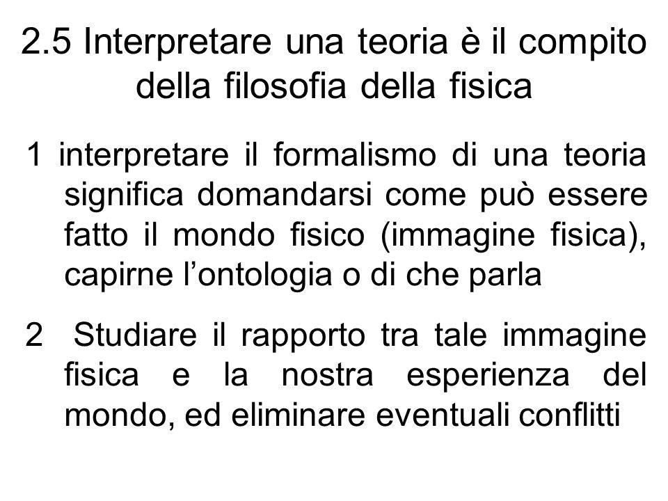 2.5 Interpretare una teoria è il compito della filosofia della fisica