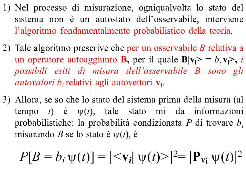 Nel processo di misurazione, ogniqualvolta lo stato del sistema non è un autostato dell'osservabile, interviene l'algoritmo fondamentalmente probabilistico della teoria.