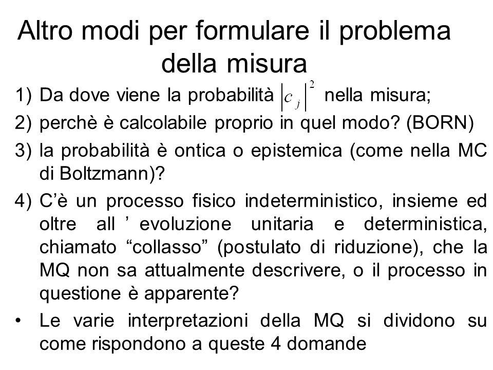 Altro modi per formulare il problema della misura