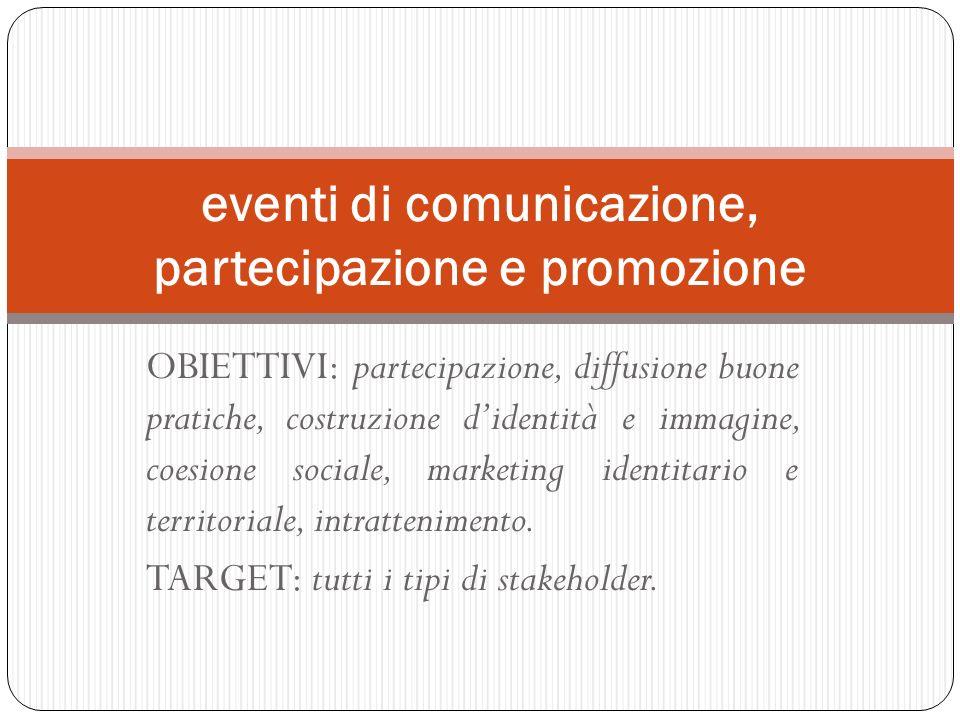 eventi di comunicazione, partecipazione e promozione