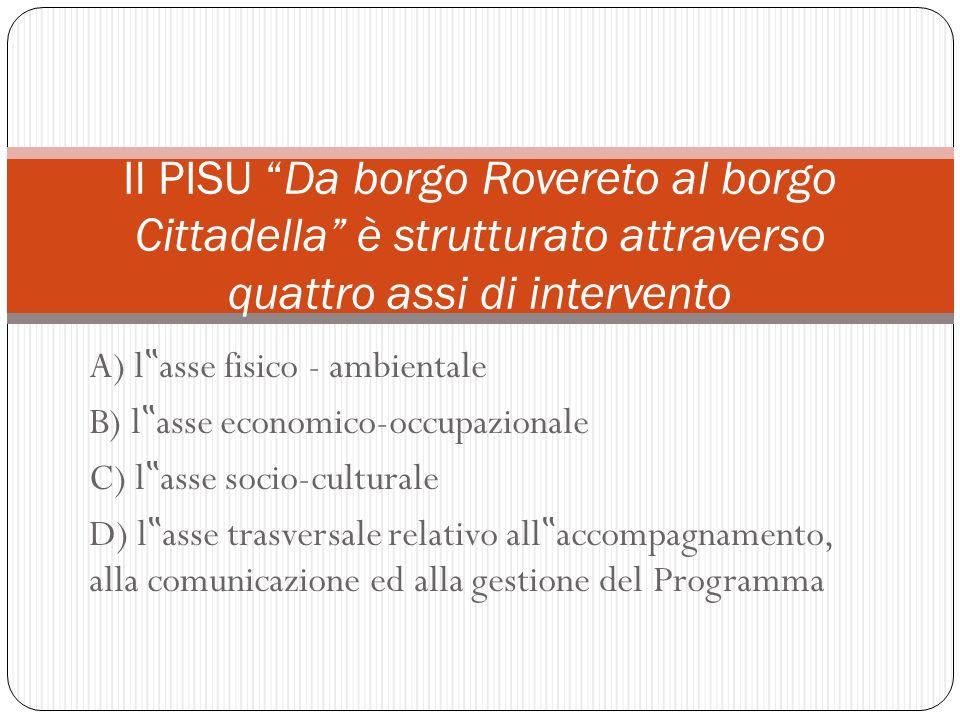 Il PISU Da borgo Rovereto al borgo Cittadella è strutturato attraverso quattro assi di intervento