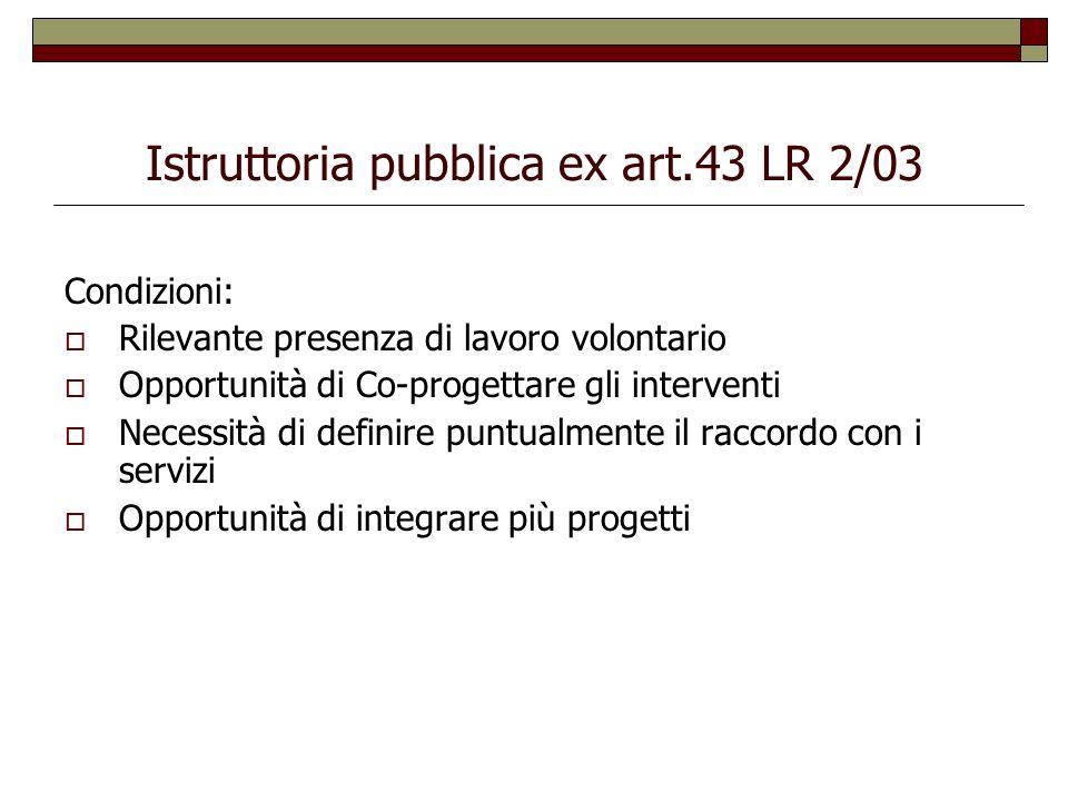 Istruttoria pubblica ex art.43 LR 2/03
