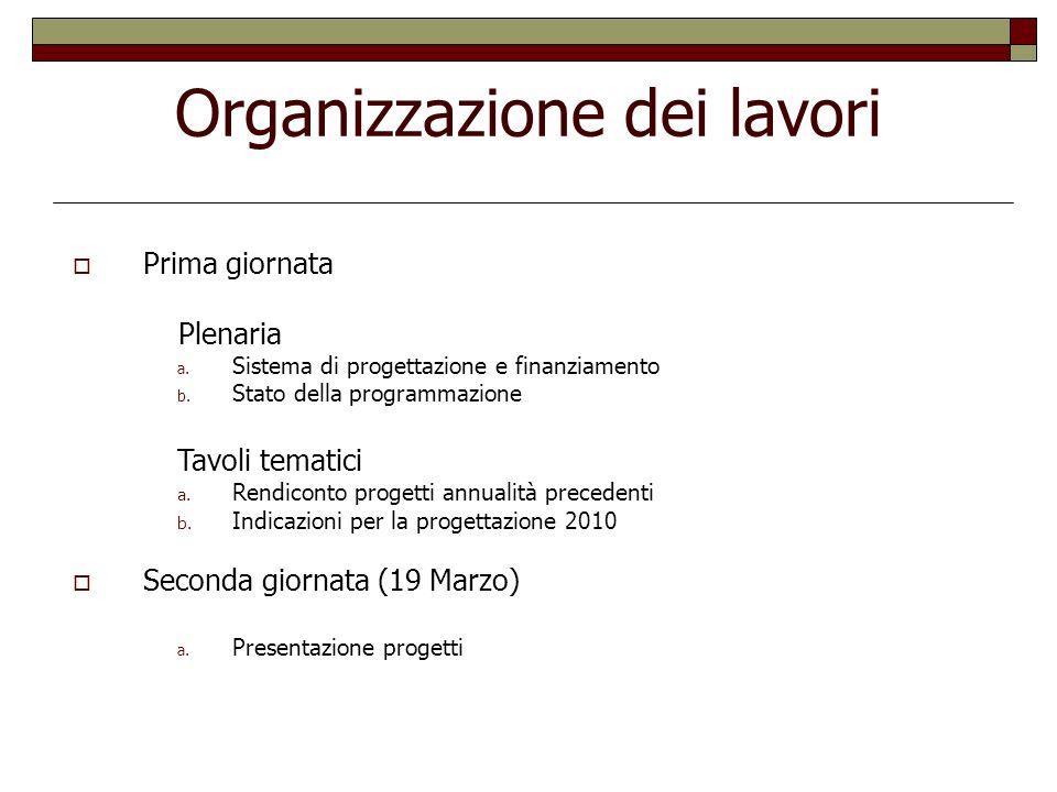 Organizzazione dei lavori