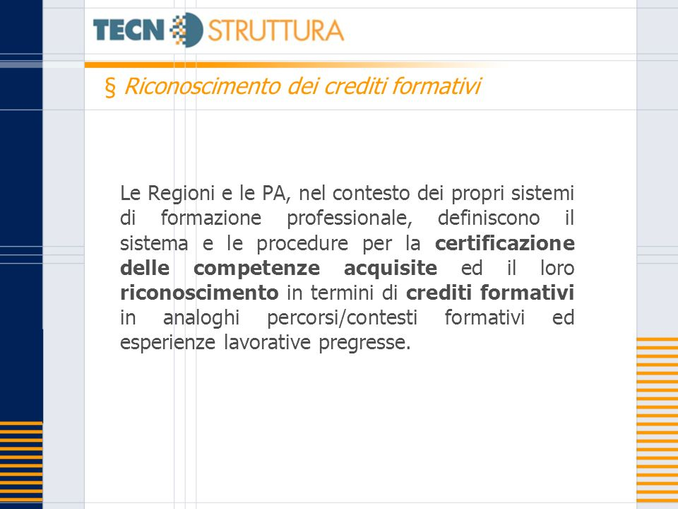 § Riconoscimento dei crediti formativi