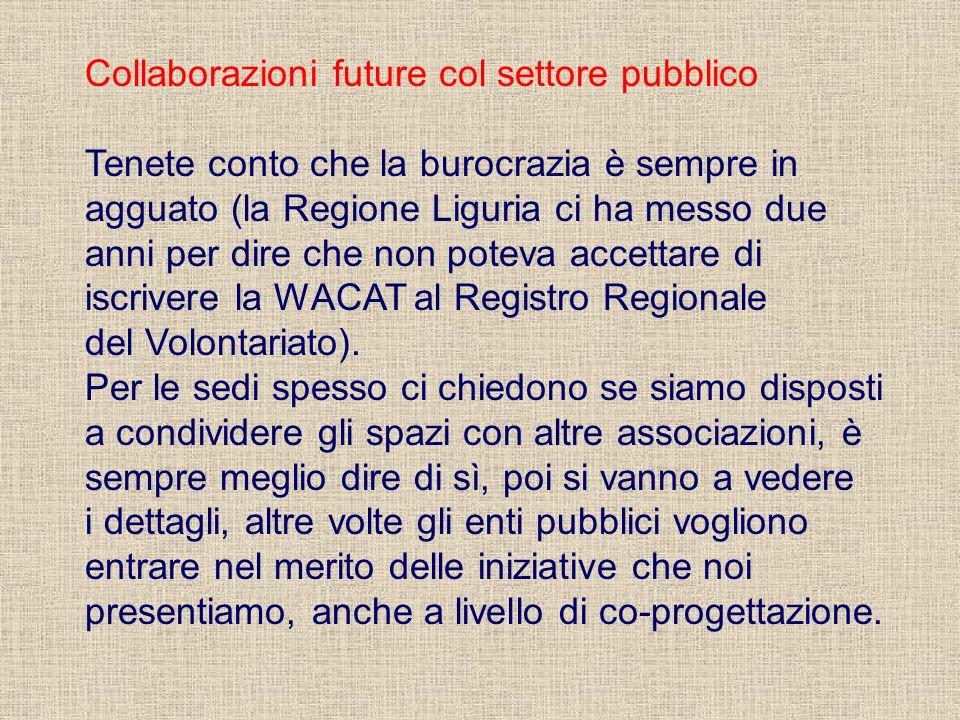 Collaborazioni future col settore pubblico