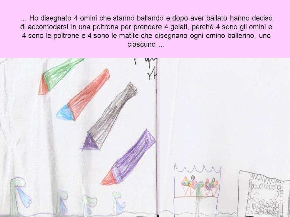 … Ho disegnato 4 omini che stanno ballando e dopo aver ballato hanno deciso di accomodarsi in una poltrona per prendere 4 gelati, perché 4 sono gli omini e 4 sono le poltrone e 4 sono le matite che disegnano ogni omino ballerino, uno ciascuno …