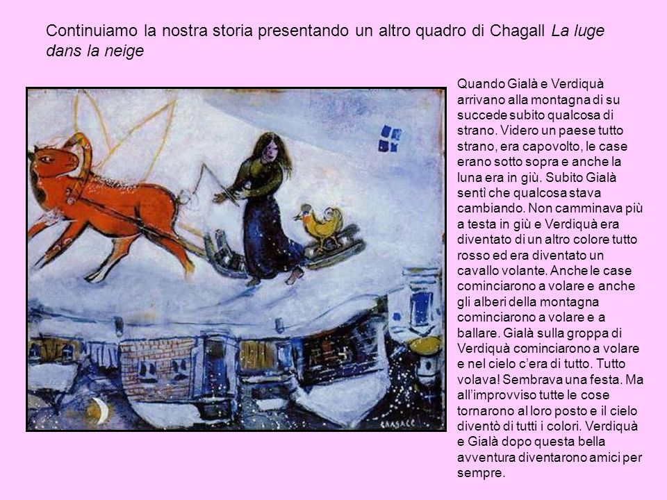 Continuiamo la nostra storia presentando un altro quadro di Chagall La luge dans la neige