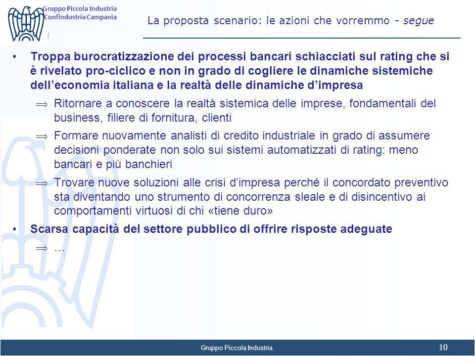 La proposta scenario: le azioni che vorremmo - segue