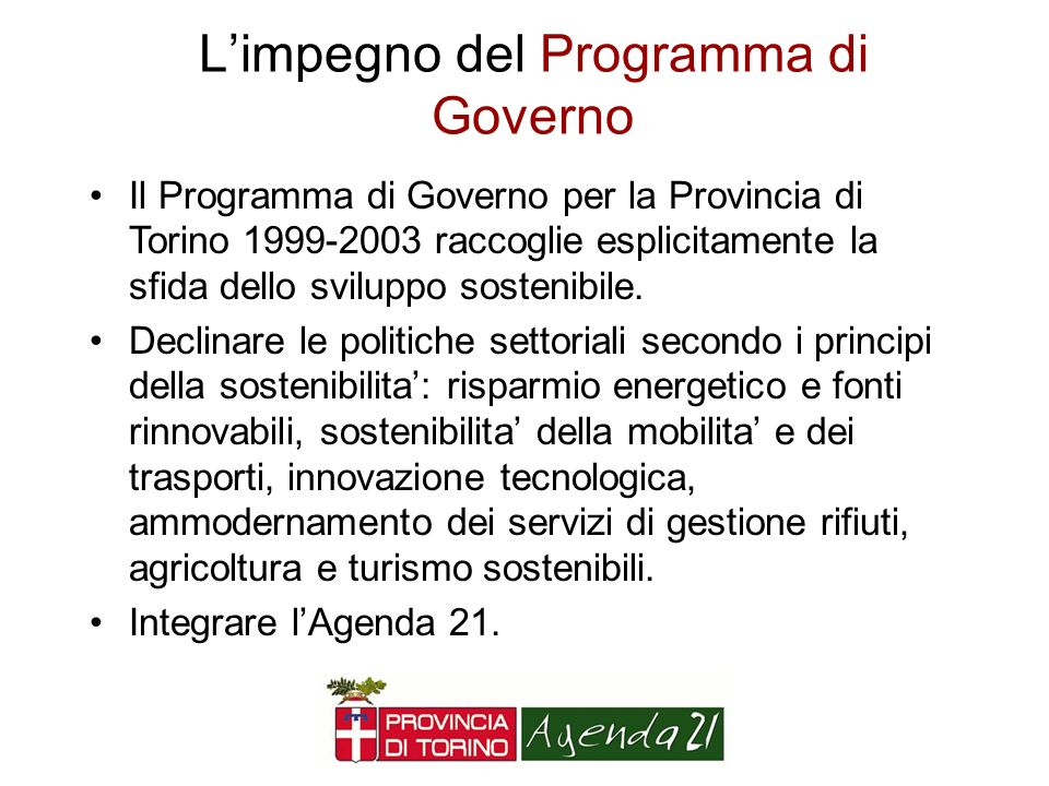 L'impegno del Programma di Governo