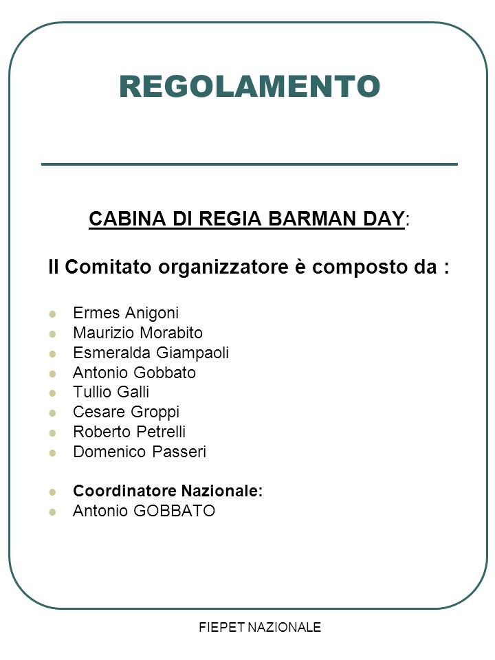 CABINA DI REGIA BARMAN DAY: