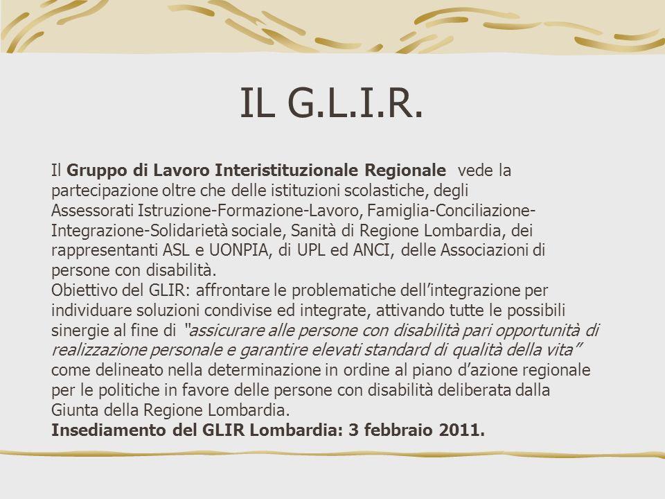 IL G.L.I.R. Il Gruppo di Lavoro Interistituzionale Regionale vede la