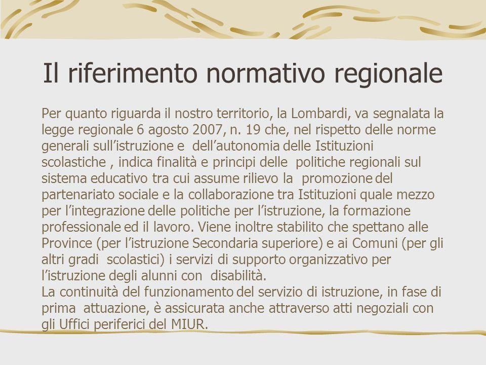 Il riferimento normativo regionale