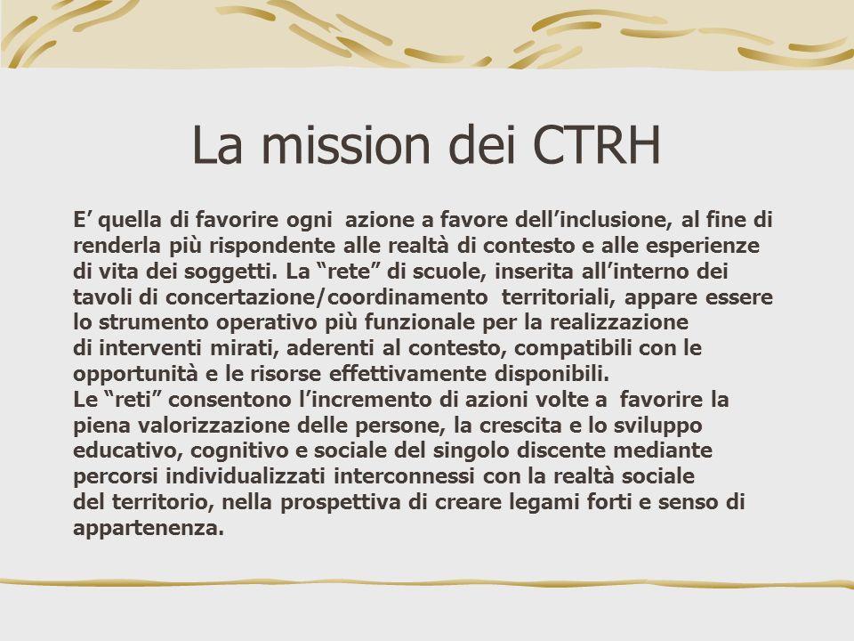 La mission dei CTRH E' quella di favorire ogni azione a favore dell'inclusione, al fine di.