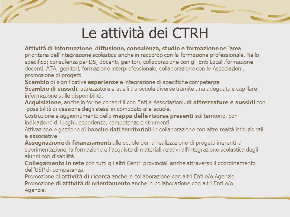 Le attività dei CTRH Attività di informazione, diffusione, consulenza, studio e formazione nell'area.