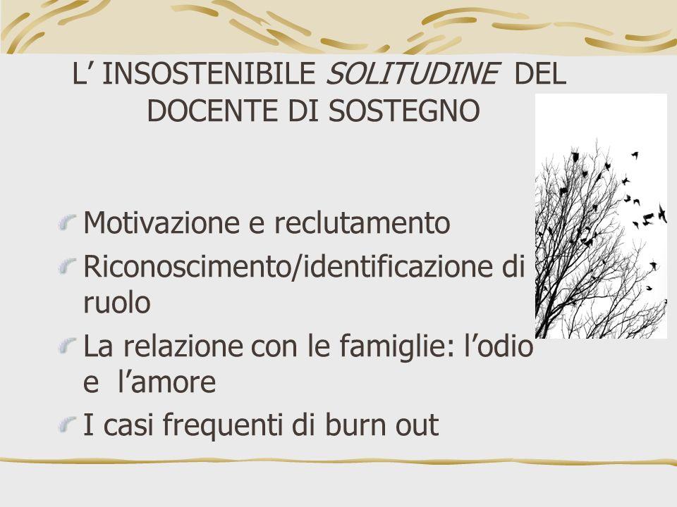 L' INSOSTENIBILE SOLITUDINE DEL DOCENTE DI SOSTEGNO