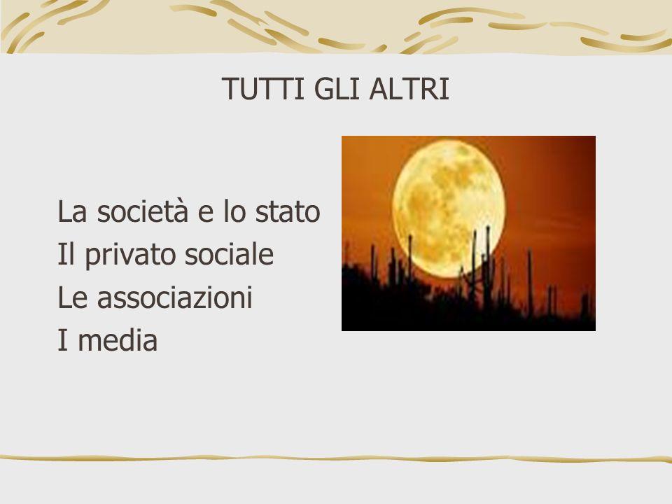 TUTTI GLI ALTRI La società e lo stato Il privato sociale Le associazioni I media